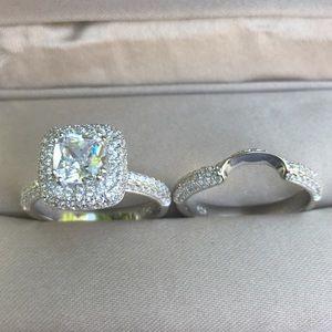 Jewelry - 💎2pcs 925 Silver Engagement Ring Wedding Band Set